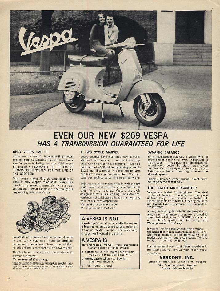Even our new $269 Vespa has a transmission guaranteed for life ad 1964 L