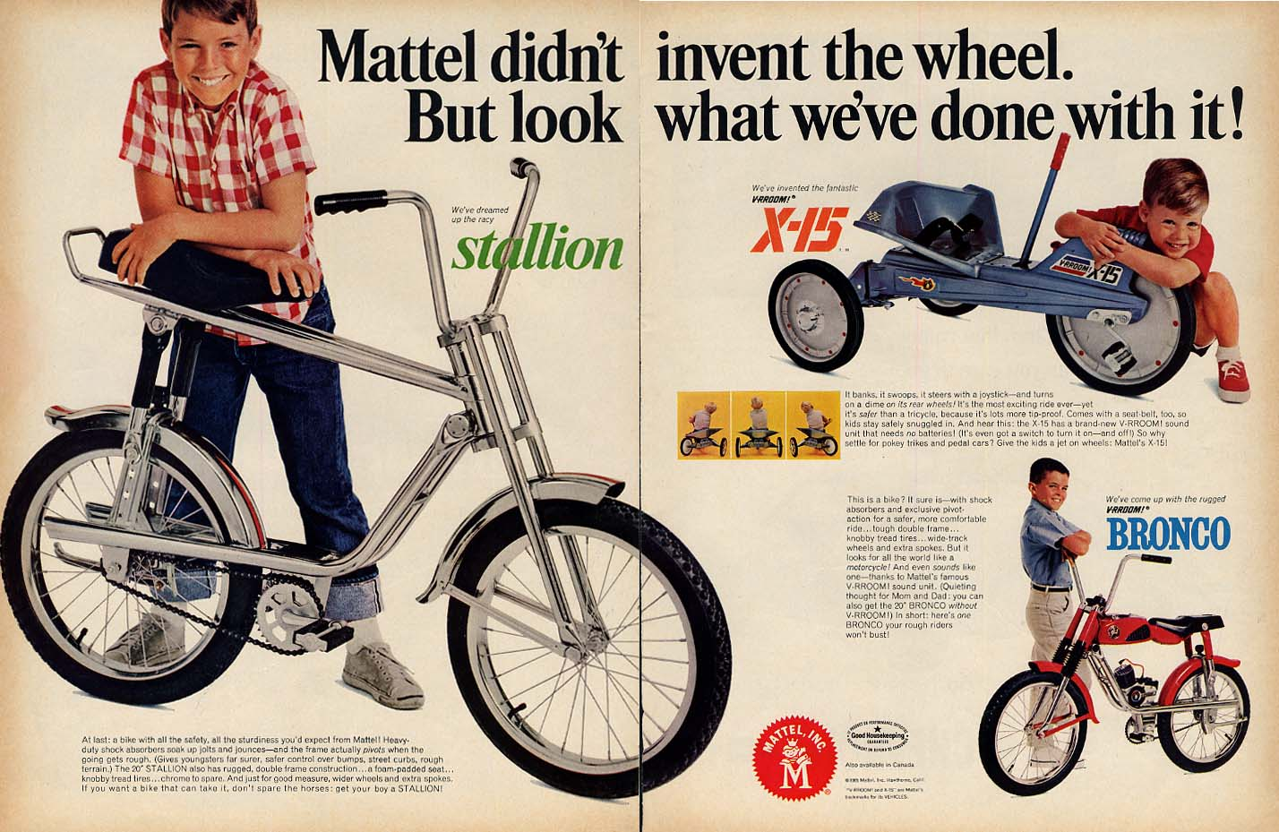 Look what Mattel did with the wheel Stallion bicycle X-15 & Bronco ad 1965 L
