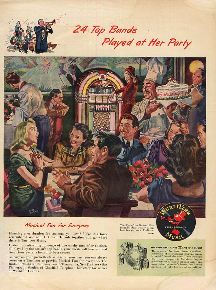 24 Top Bands Played at Her Party: Wurlitzer Jukebox ad 1947 L