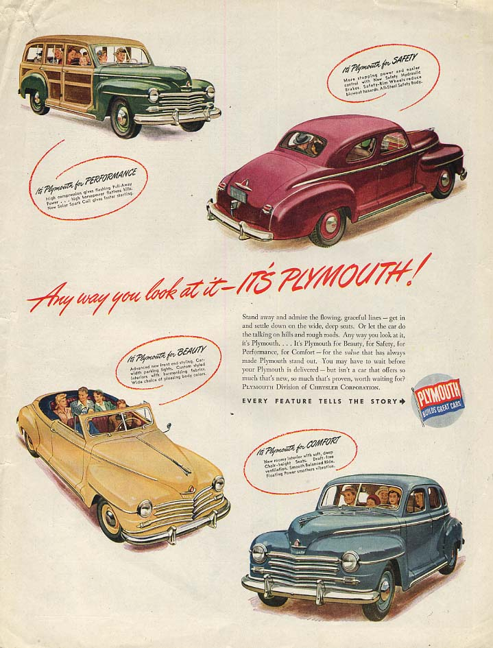 Any way you look at it - It's Plymouth Station Wagon Convertible Coupe ad 1946