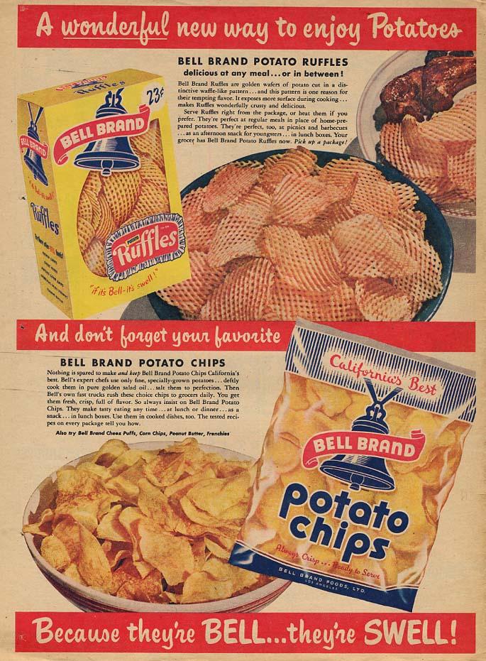A wonderful way to enjoy Bell Brand Ruffles & Potato Chips ad 1956 LAT