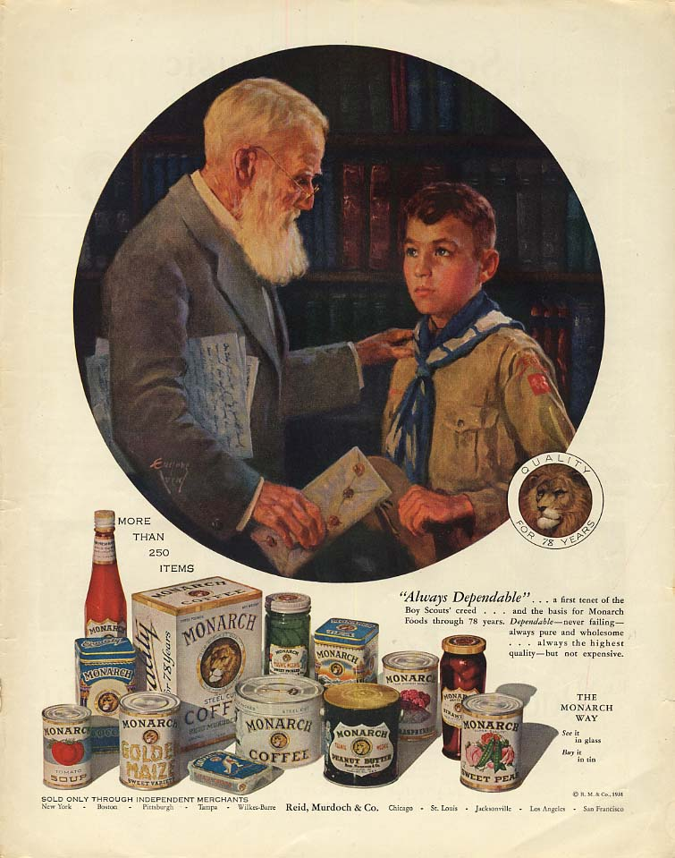Always Dependable - Monarch Foods ad 1931 old man & Boy Scout