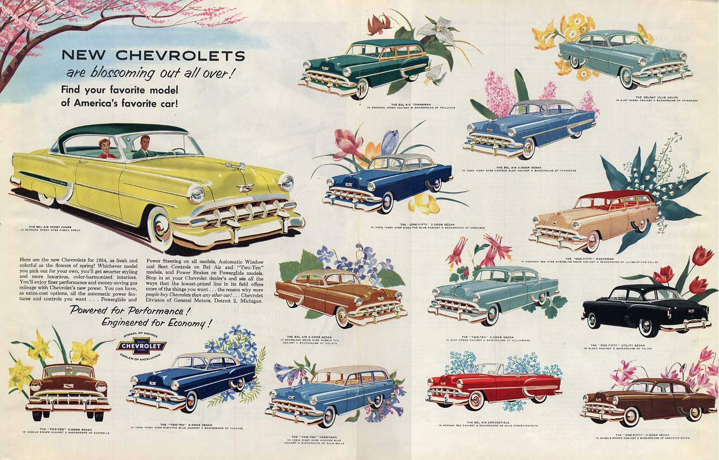 Blossoming out all over! Chevrolet full-line ad 1954 Col