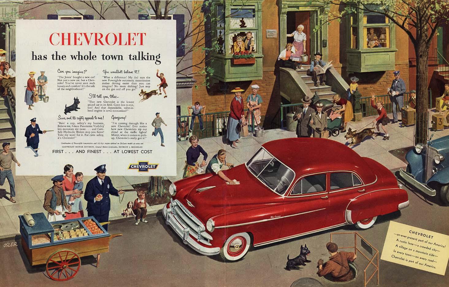 Chevrolet De Luxe Sedan has the whole town talking! Ad 1950