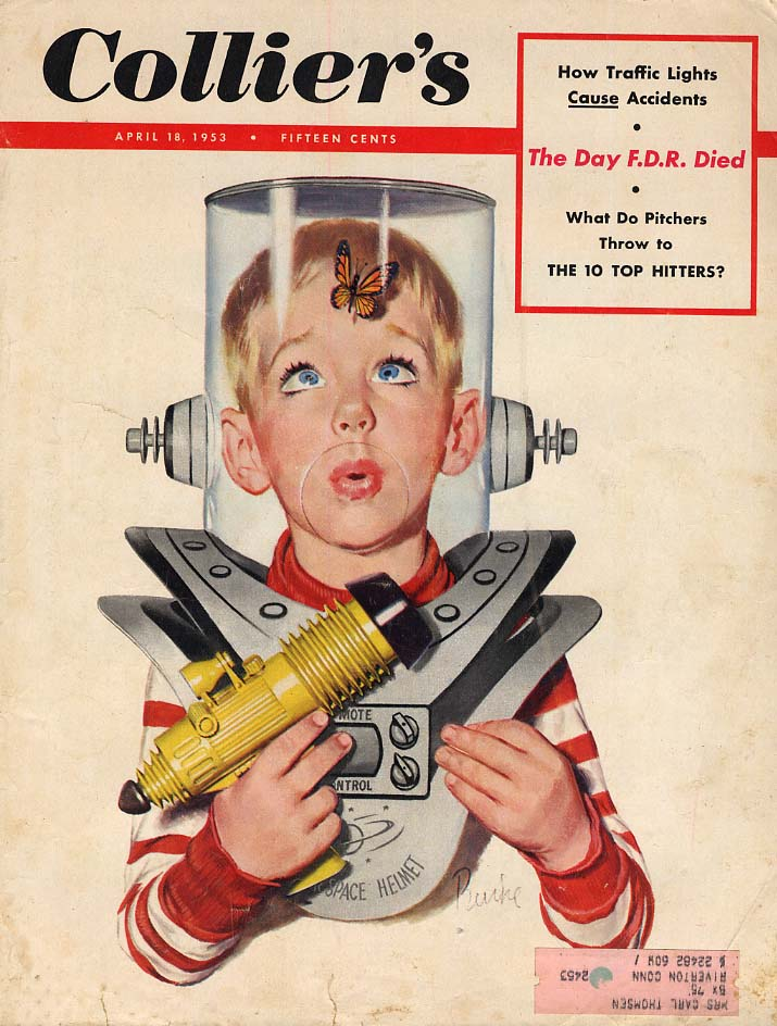 COLLIER'S COVER 1953 boy's space suit helmet invaded by butterfly by Burke
