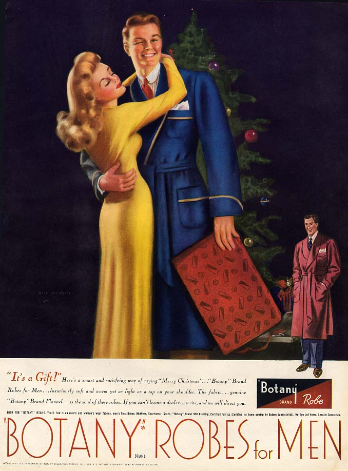 It's a gift! Botany Robes for Men ad 1946 Billy De Vorss pin-up art