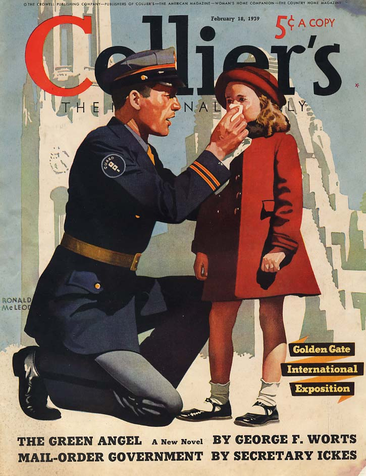 COLLIER'S COVER 1939 policeman wipes little girl's nose by Ronald McLeod