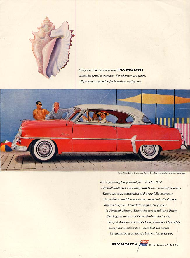 All eyes on you when your Plymouth Belvedere makes its entrance ad 1954 Vog
