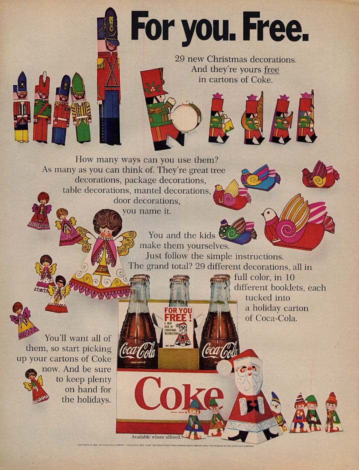 For you. Free. 29 new Christmas decorations Coca-Cola ad 1968 L