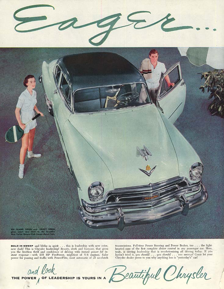 Image for Eager - Bold in sweep blithe in spirit Chrysler New Yorker Club Coupe ad 1954 P