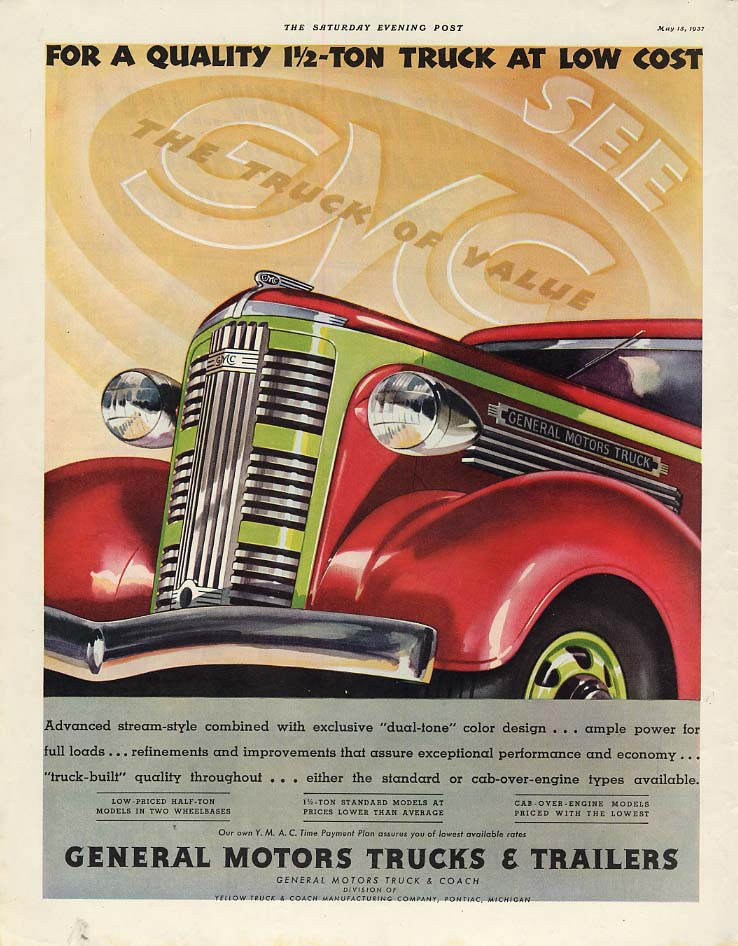 A Quality 1 1/2-ton truck at low cost General Motors Truck ad 1937 SEP