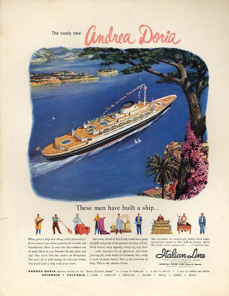Image for The lovely new S S Andrea Doria - Italian Line ad 1953 H