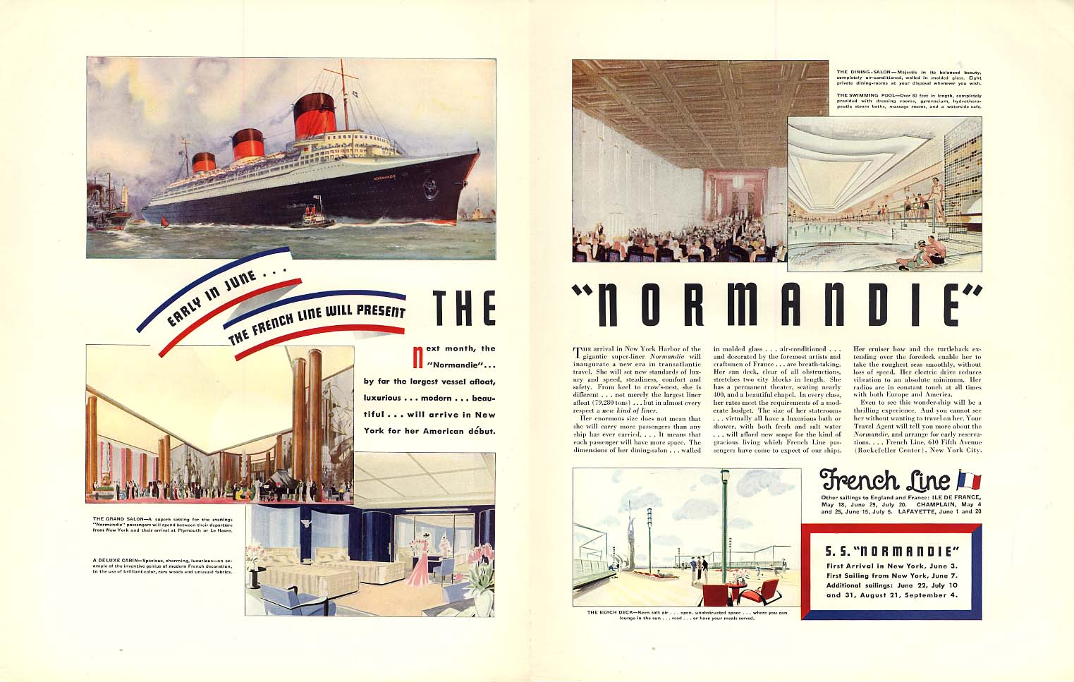 Early in June the French Line will oresent the S S Normandie ad 1935 F