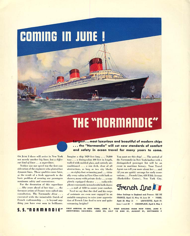 Coming in June! French Line S S Normandie / Lincoln Le Baron Roadster ad 1935 F