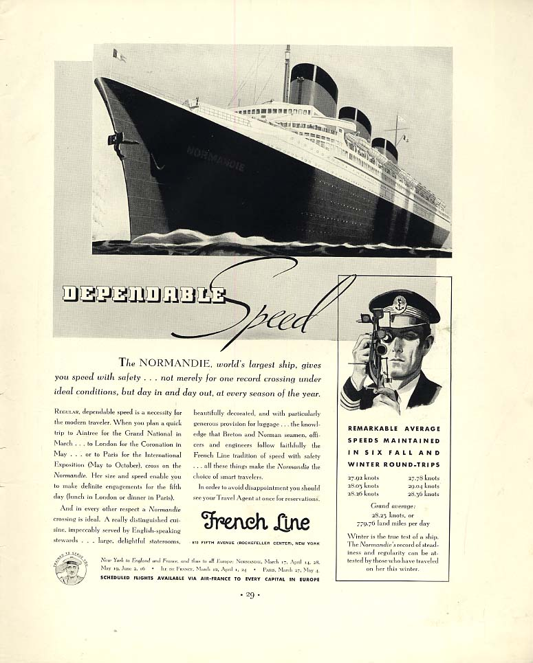 Dependable Speed - French Line S S Normandie ad 1937 F