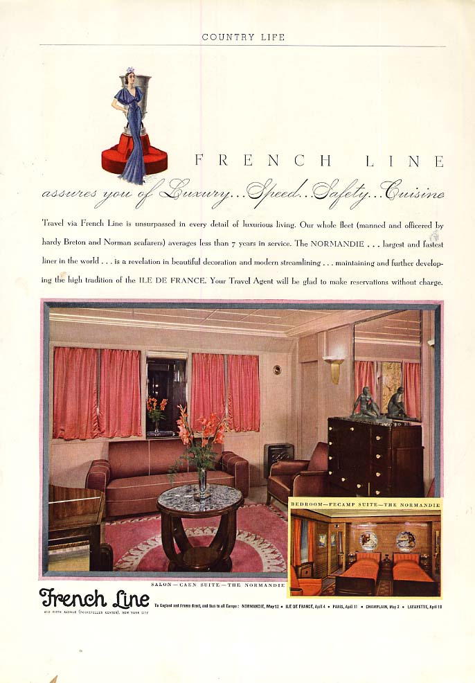 French Line assures you of Luxury Speed Safety Cuisine - S S Normandie ad 1936