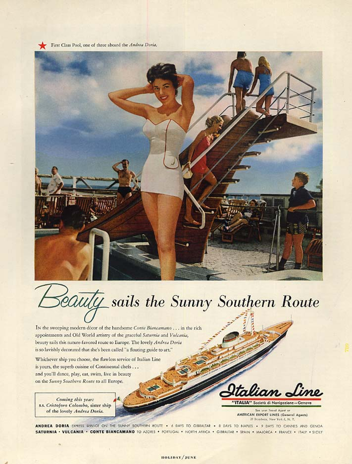 Image for Beauty sails the Sunny Southern Route - Italian Line S S Andrea Doria ad 1954 H