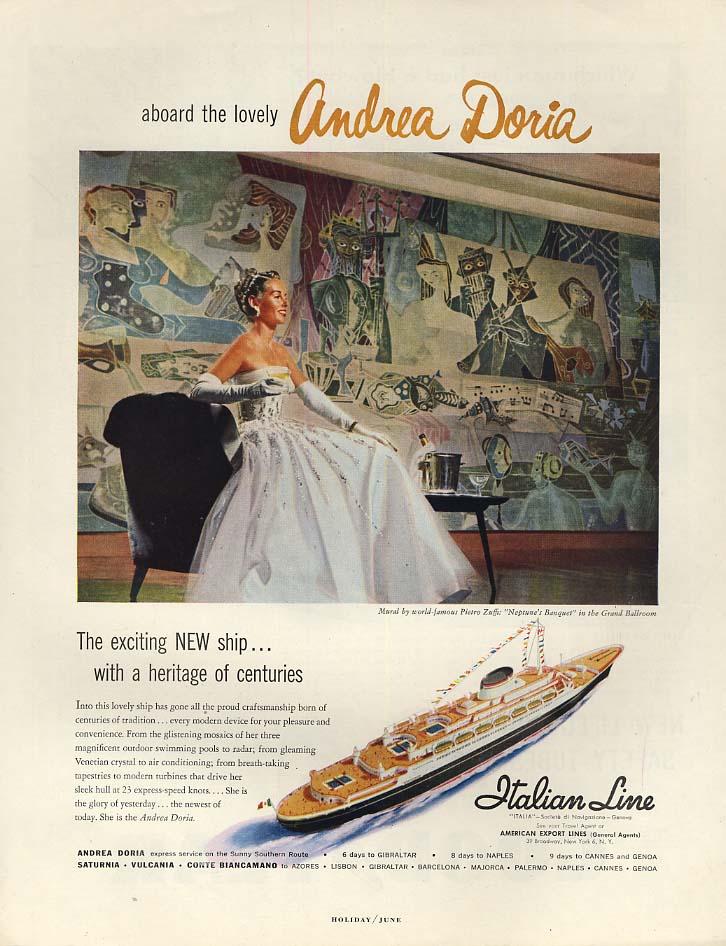 Aboard the Italian Line S S Andrea Doria ad 1953 H