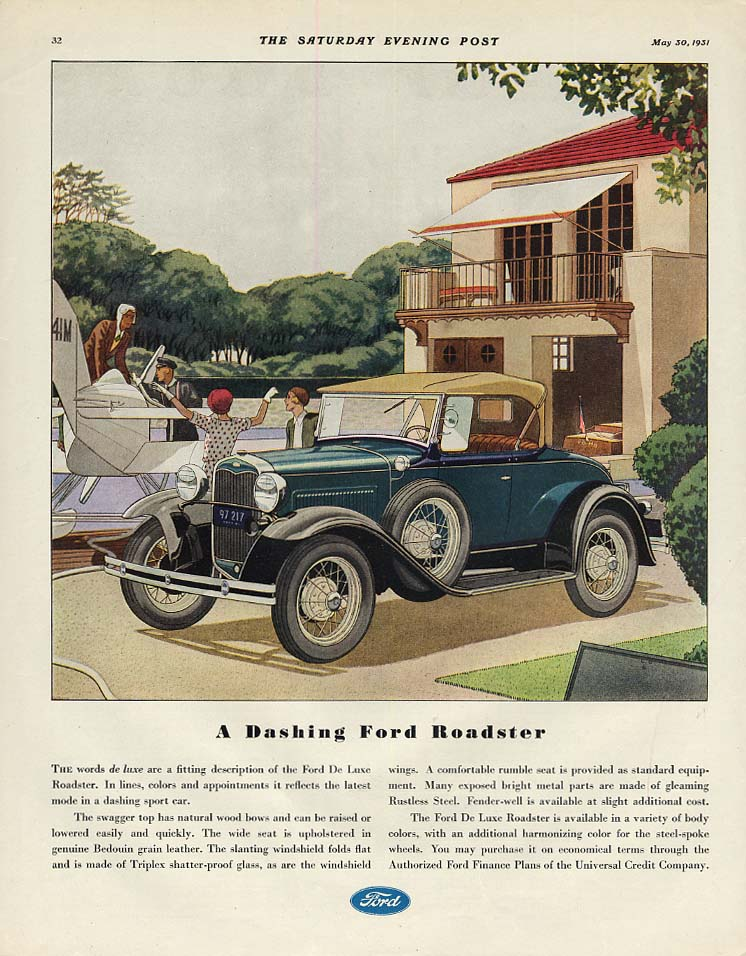 A Dashing Ford Roadster -Model A ad 1931 SEP