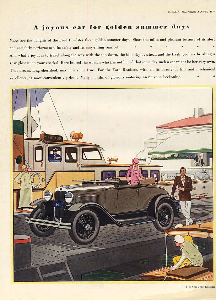 A joyous car for golden summer days Ford Model A Roadster ad 1930 McC