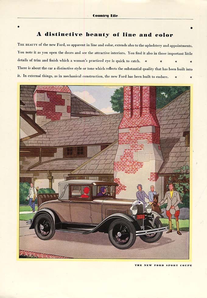 A Distinctive Beauty of Line & Color - Ford Model A Sport Coupe ad 1930 CL