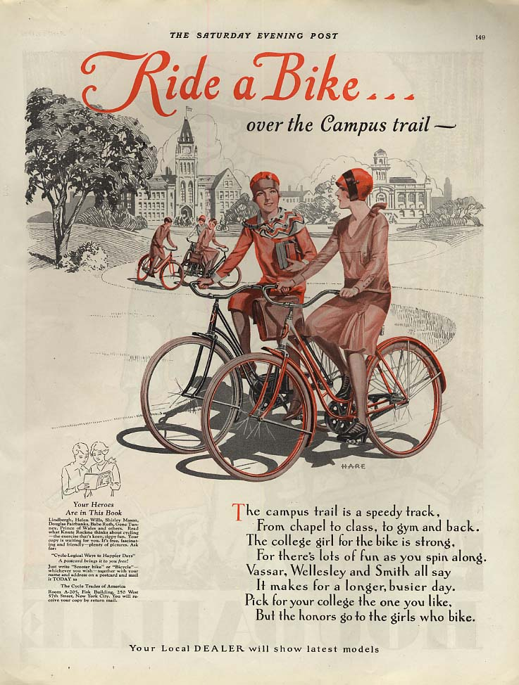 Ride a Bike over the Campus Trail - Bicycle Dealers ad 1929 SEP