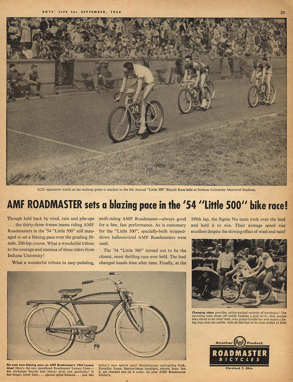 AMF Roadmaster Bicycle sets a blazing pace in the Little 500 race ad 1954