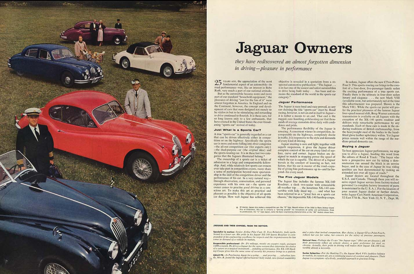 The almost forgotten dimension in driving Jaguar XK-140 & Mark VII ad 1957 H