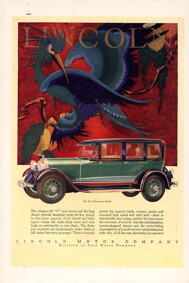 A compact 60º V-type motor Lincoln Five-Passenger Sedan ad 1928 var