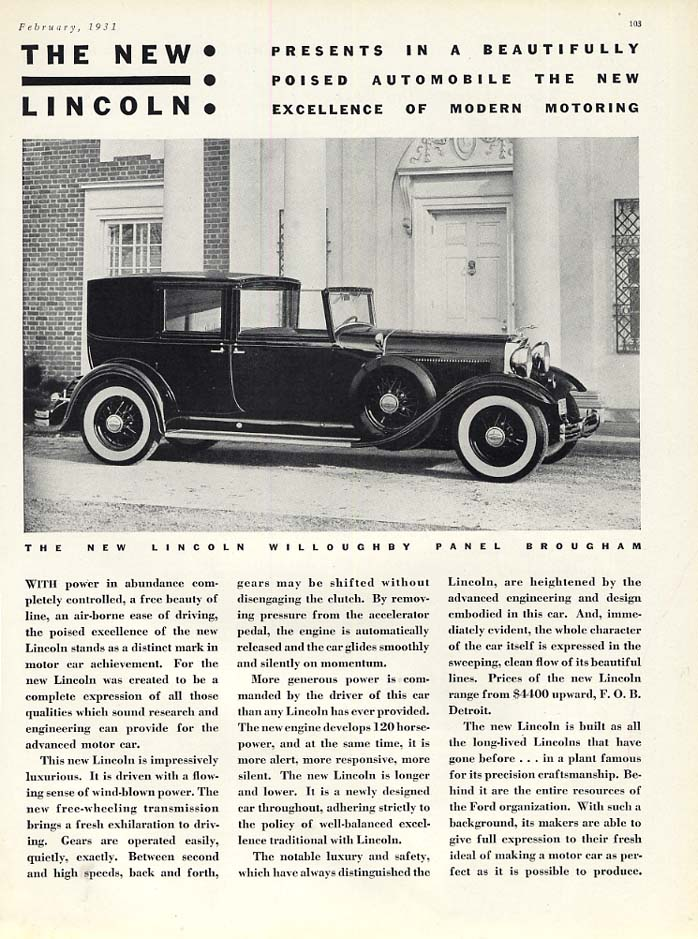 A Beautifully Poised Lincoln Willoughby Panel Brougham Town Car ad 1931 var