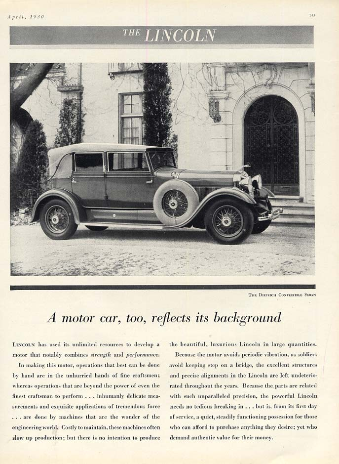 A car reflects its background Lincoln Dietrich Convertible Sedan ad 1930 H&G