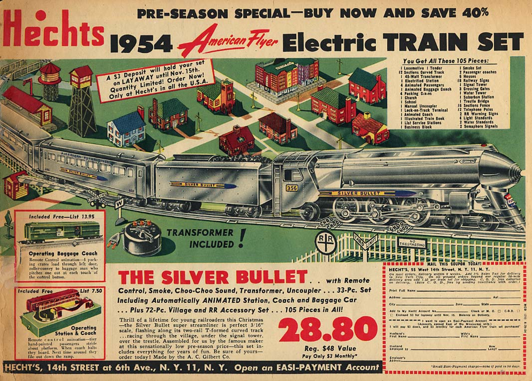 American Flyer Silver Bullet electric train Hechts Department Store ad 1954
