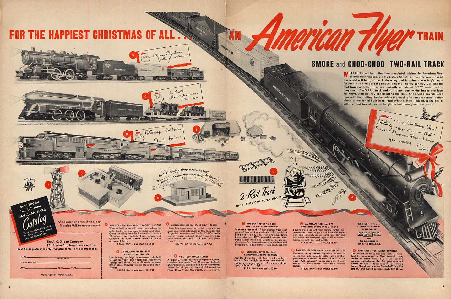 Happiest Christmas of All American Flyer Electric Trains ad 1950 L
