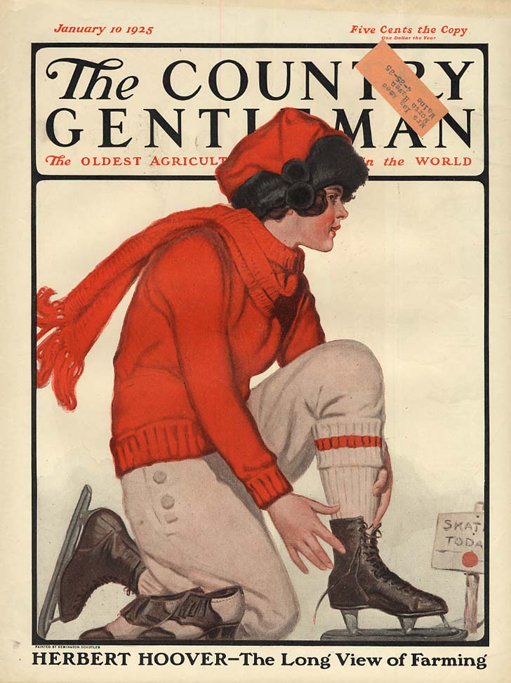 COUNTRY GENTLEMAN COVER 1925 young woman ice skating by Remington Schuyler
