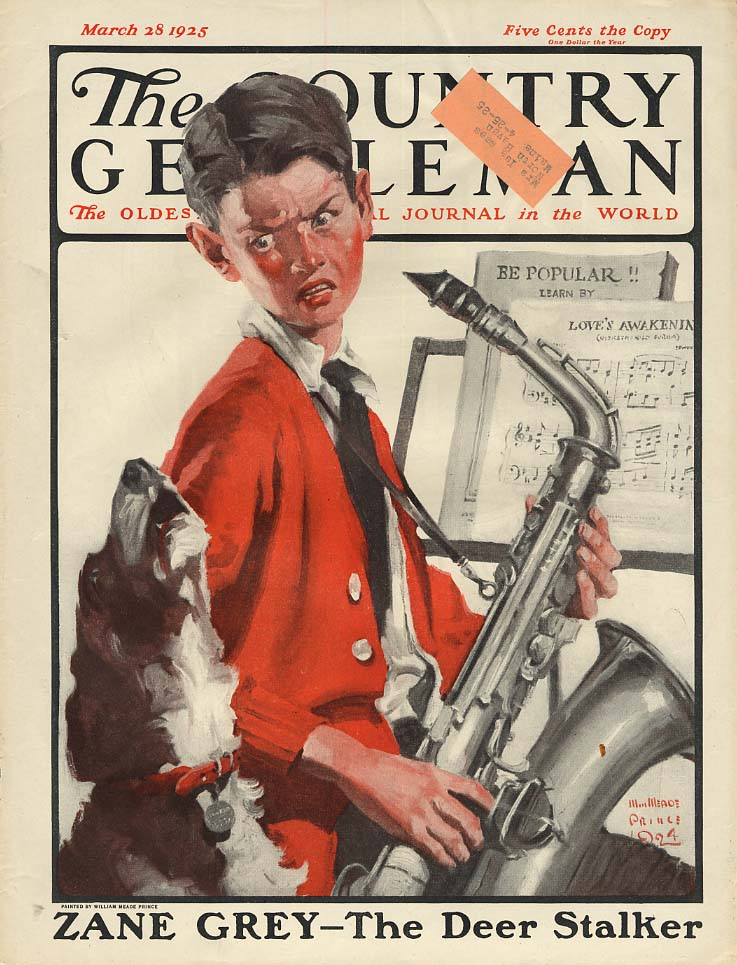 COUNTRY GENTLEMAN COVER 1925 boy's saxophone makes dog howl by Wm Meade Prince