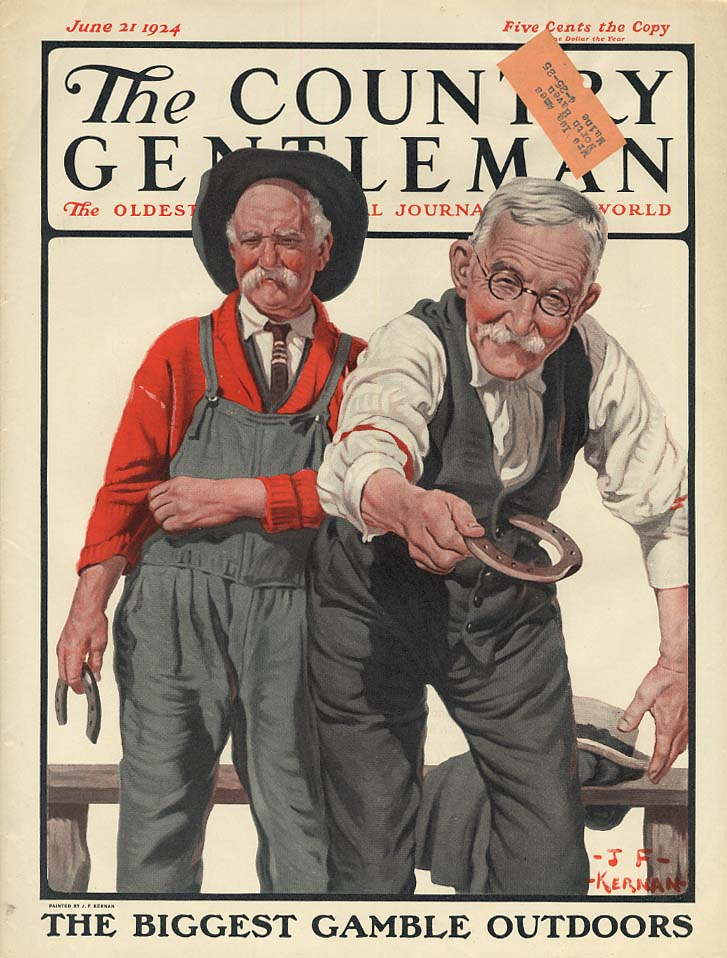 COUNTRY GENTLEMAN COVER 1924 old men play horseshoes by J F Kernan