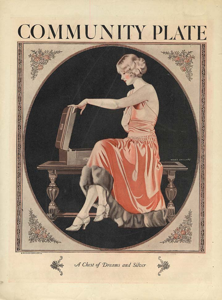 Community Plate Silverware ad 1924 pretty girl by Coles Phillips