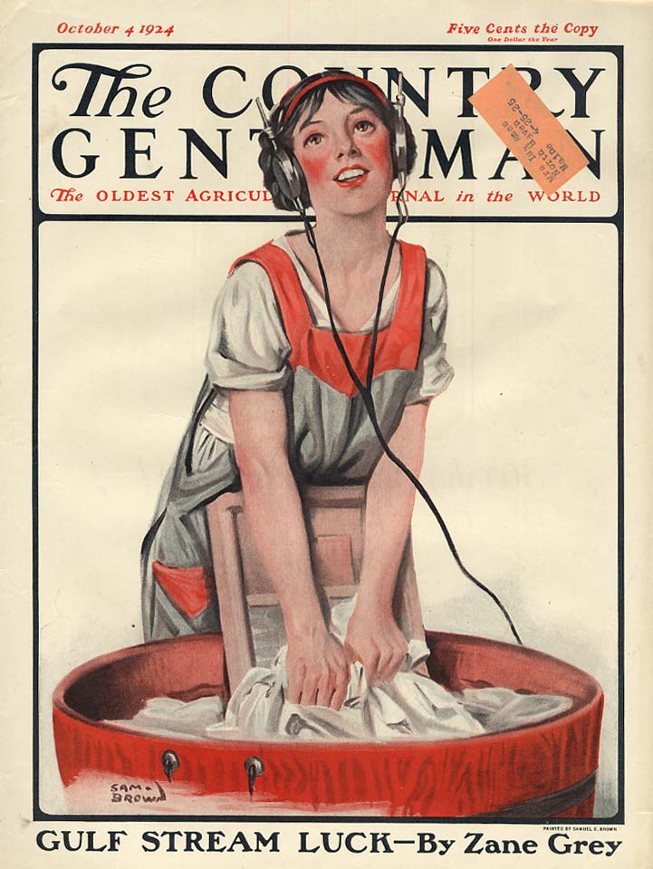 COUNTRY GENTLEMAN COVER 1924 pretty girl does washing with headphones on