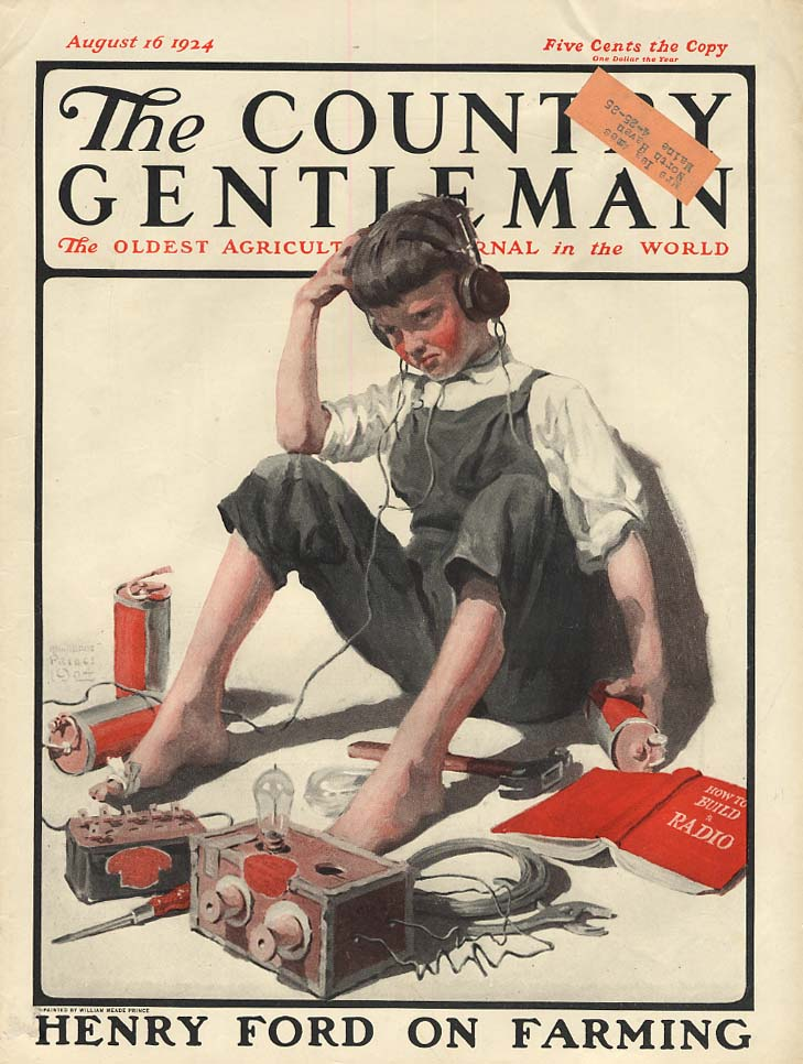 COUNTRY GENTLEMAN COVER 1924 boy building radio kit by William Meade Prince