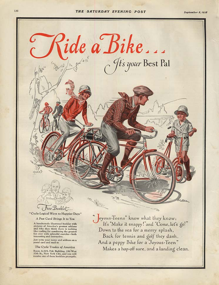 Ride a Bike - it's your Best Pal! Ad 1928 SEP art by Hare