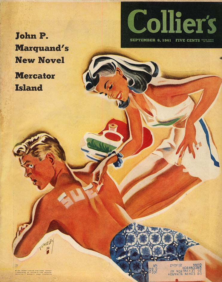 COLLIER'S COVER 1941 woman marks suntanned man with her name by Floherty