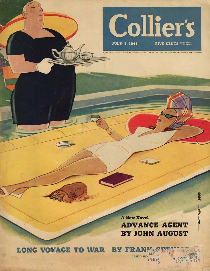COLLIER'S COVER 1941 sunbathing woman served tea on float in pool by Rea Irvin