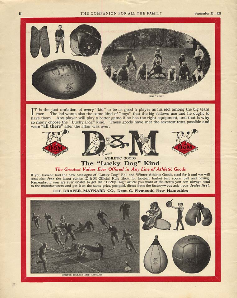 D&M Draper-Maynard Lucky Dog Football Equipment ad 1921 COM Center v Harvard