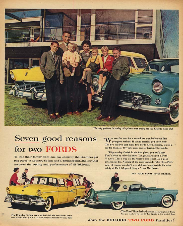 7 good reasons for two Fords - Country Sedan & Thunderbird ad 1956 AW