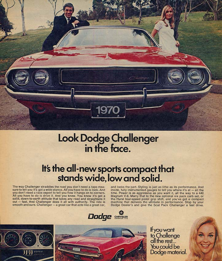 All-new sports compact stands wide low & solid Dodge Challenger ad 1970
