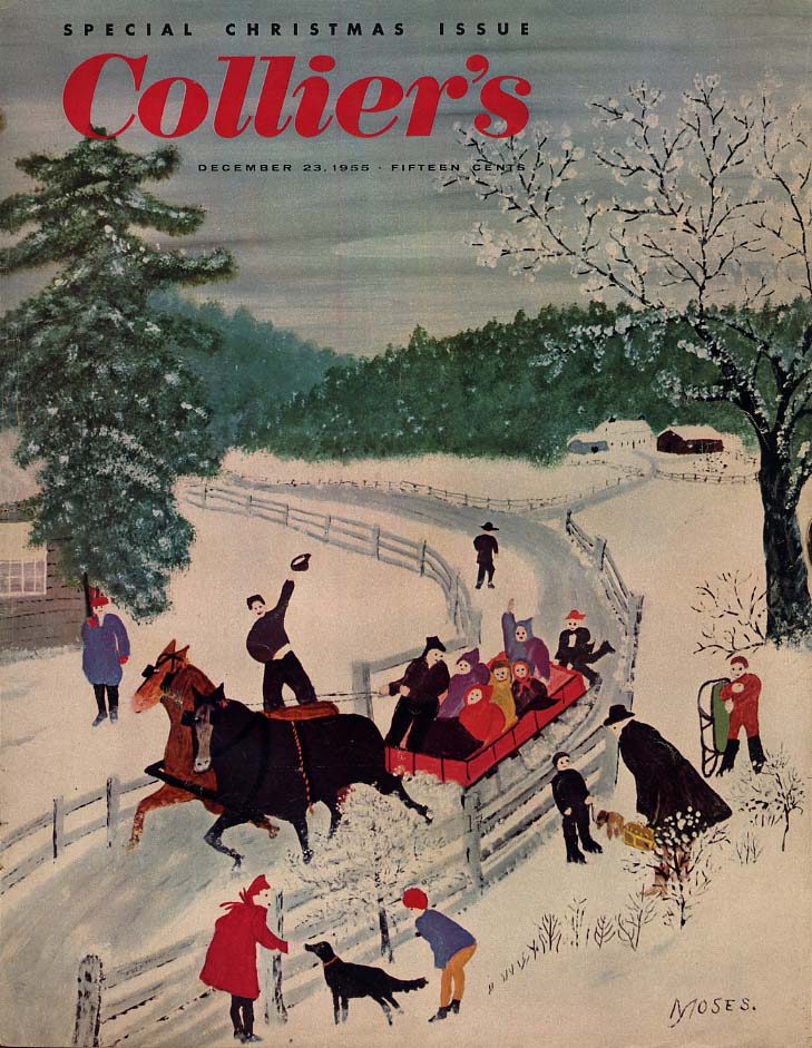 COLLIER'S COVER 1955 Christmas sleigh ride by Grandma Moses