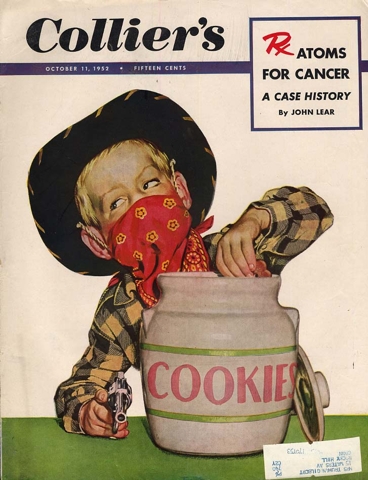 COLLIER'S COVER 1952 Boy cowboy bandit raids cookie jar with cap pistol