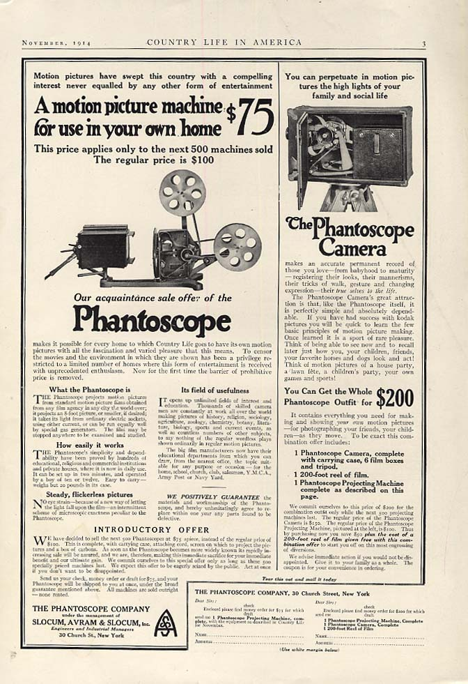 A motion picture machine for use in your own home Phantoscope ad 1914