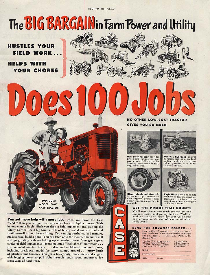 Image for The Big Bargain in Farm Power & Utility Does 100 Jobs: Case Tractor ad 1952 CG