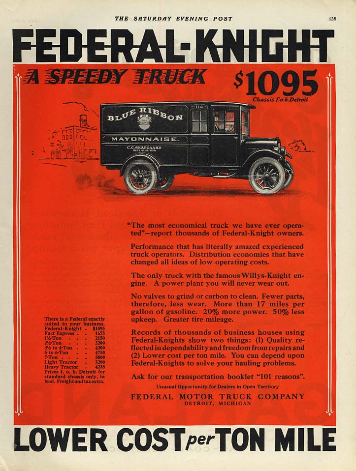 A Speedy Truck $1095 - Federal-Knight Blue Ribbon Mayonnaise van ad 1925 SEP